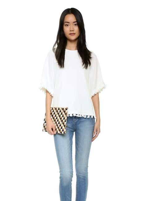 White Oversized Linen Luxury Tassel Top