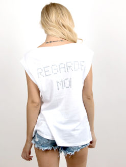 White Graphic Tee-back