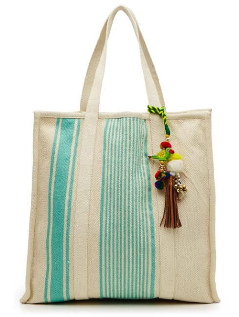 Robyn Stripe Turquoise Bag Embellished Tassels
