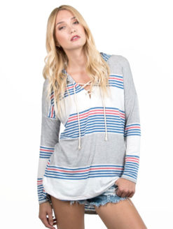 women's striped jersey long sleeve hoodie