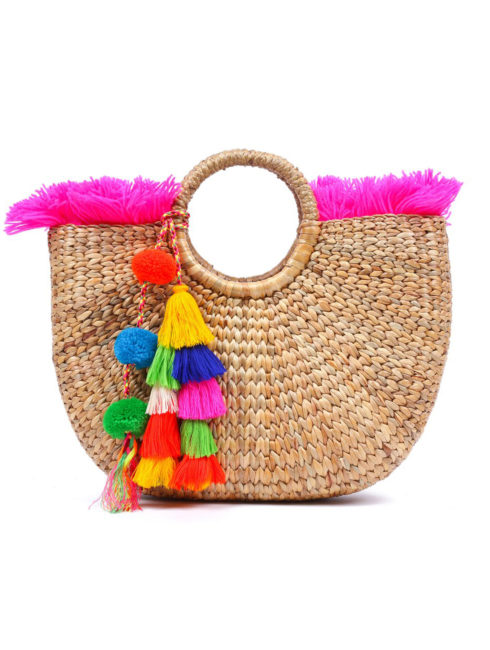 Beach Basket Fringe Tassel Pom Pom Pink