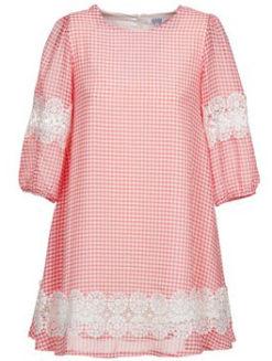 Brigitte Bardot Gingham Dress-Cherry Pink - Amanda Mills LA