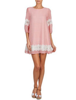 Brigitte Bardot Gingham Dress-Cherry Pink - Amanda Mills LA