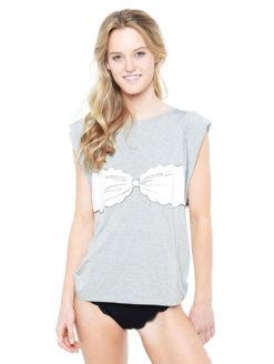 Marysia Bikini Tee - Gray & White - Amanda Mills LA