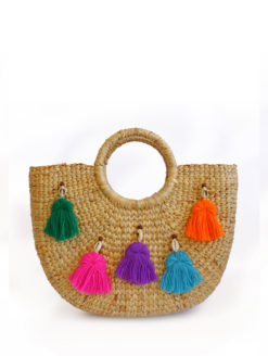 JADEtribe - Mini Neon Tassel Beach Basket