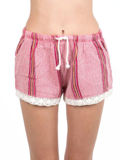 womens red striped crochet shorts