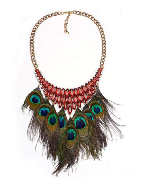 Party Jewelry - Collar Choker Big Peacock Feather