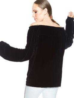Velvet Blouse Off-the-shoulder