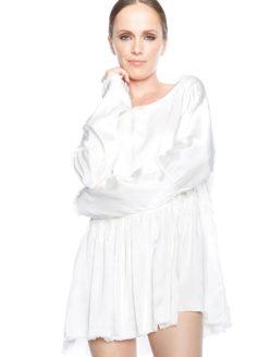 Jaga Buyan Raw Edge Ivory Silk Blouse