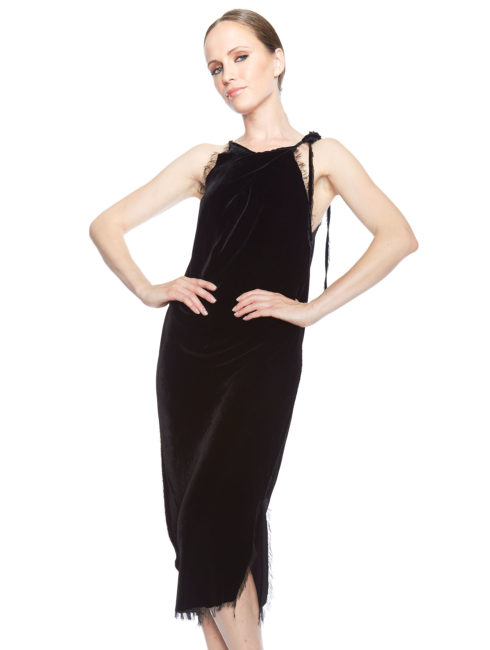Raw Edge Tie Neck Black Velvet Dress