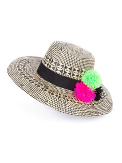 Good Vibes Hat Vibrant Pom Pom Accents - shop amla