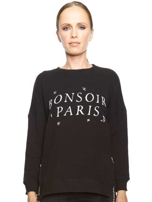 Bonsoir Paris Print Sweater - Black