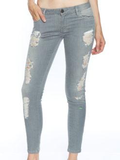 Side Zip Skinny Jeans - Grey