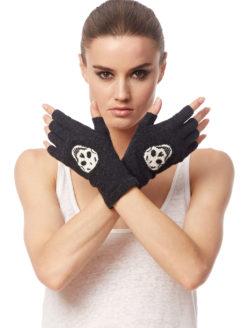 Skull Cashmere Fingerless Gloves Cinder Ivory