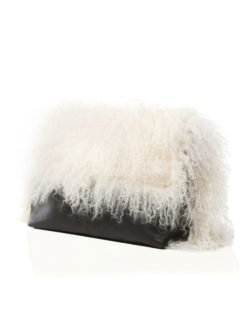Marie Turnor -Grand Black Leather Fur Clutch