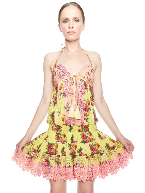 Salinas IBIZA Halter Dress Yellow Floral