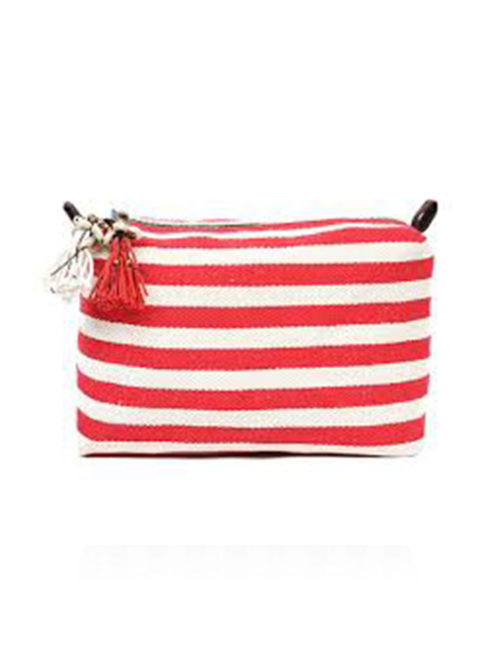 Valerie Red Stripe Puka Shell Cosmetic Bag