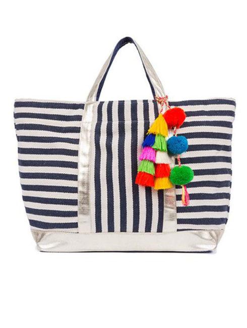 JADEtribe- Valerie St. Jean Tote Multi Tassel Indigo Beach Bag