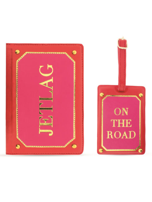 Travel Kit (Passport Holder + Luggage Tag) Jetlag Pink