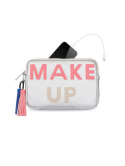 Charge up your devices with this Power Purse Silver Make Up Bag. Colorful tassel and bold lettering with the words 'MAKE UP' printed on the silver metallic clutch style bag. All vegan material with zippers all around. Comes with a power battery pack including a USB cable