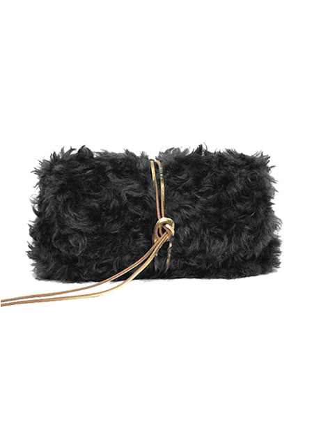Muun Ikilon Nite Fur Mohair Black Clutch