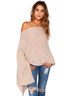 Minnie Rose - Cashmere Ruana Poncho - French Taupe - AMLA