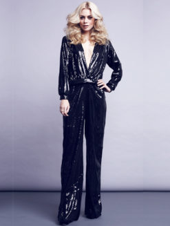 Black Sequined Long Sleeve Jumpsuit ripley radar at amanda mills la