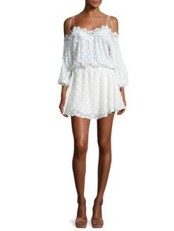 Karina Grimaldi Fleur Floral Lace Trim Cold Shoulder Midi Dress