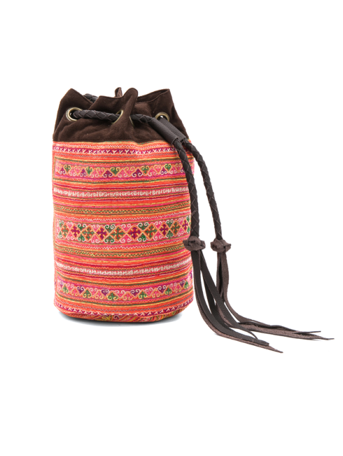 Summer Bucket Multi Color Textile Tassel Bag - shop amla
