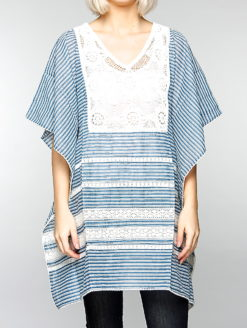 Reilly Striped Blue White Crochet Detail Kaftan