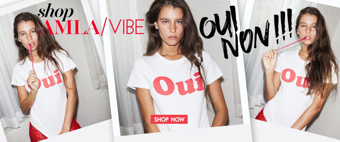 AMLA-vibe-Oui & Non French White Tee