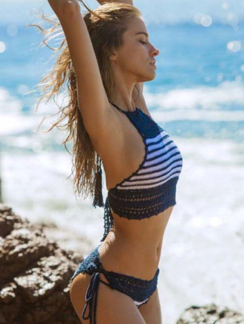 Anna Kosturova- Sailor Lace Halter Bikini Set
