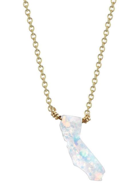 Mana - California Fire Opal Necklace - Snow White - Amanda Mills Los Angeles