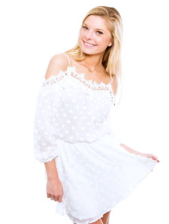 Karina Grimaldi Fleur Floral Lace Trim Cold Shoulder Midi Dress-shopamla