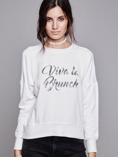 Daydreamer Viva La Brunch Sweatshirt - White - Amanda Mills LA