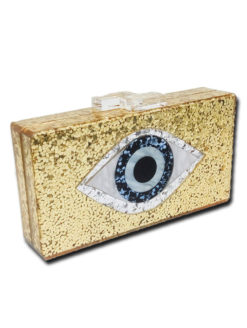 Evil Eyes Print Evening Clutch - Gold - AMLA Vibe -Amanda Mills LA