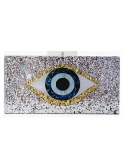 Evil Eye Acrylic Evening Clutch SILVER