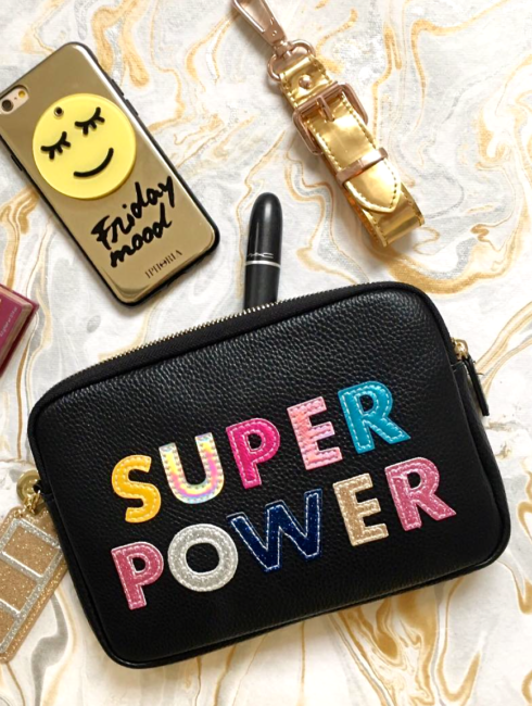 Iphoria Patches Super Power Purse Bold Black
