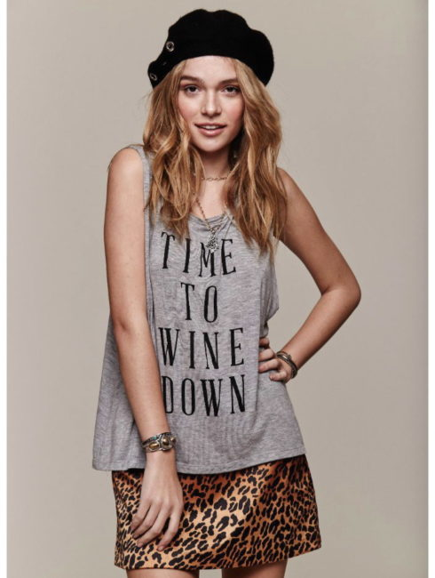Wine Down Heather Grey Sassy Tank-Daydreamer