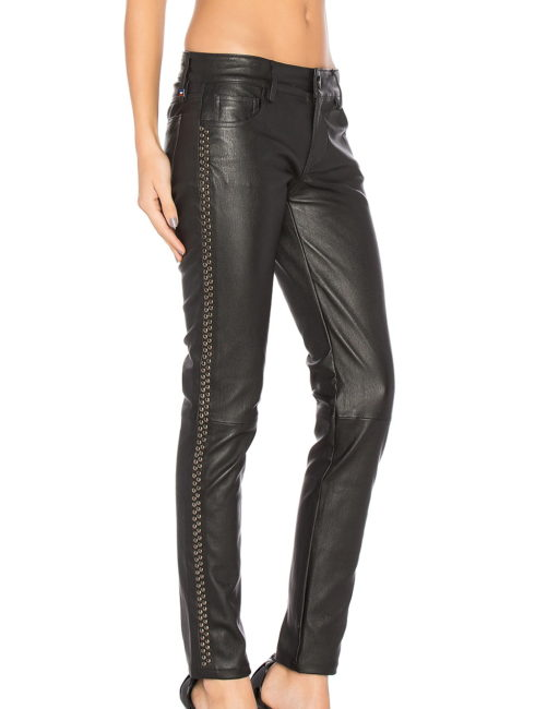 Etienne Marcel Studded Leather Skinny Pants - Black
