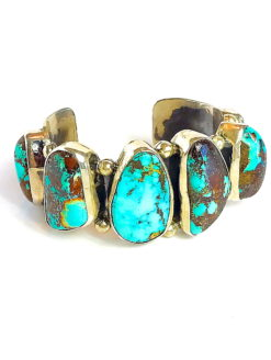 FEDERICO CUFF BRACELET-Fine Silver Turquoise Jewelry