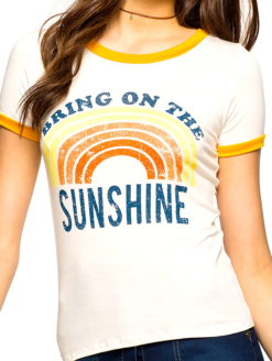 SUNSHINE SEXY SEVENTIES VINTAGE TEE - This sunny print slim tee has a crew neck with playful retro details around next and sleeve.