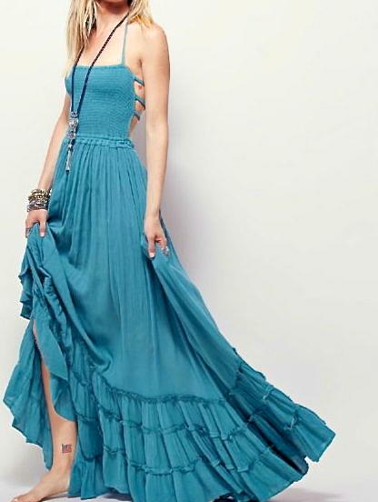 Indigo Sky Bohemian Peasant Style Maxi Dress -amvb
