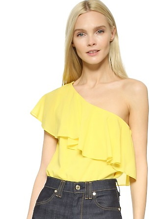 Izidora One Shoulder Ruffle Blouse-YELLOW-ALICE+OLIVIA-SHOPAMLA