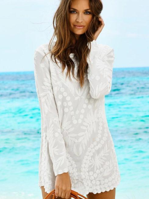 Water Lilly Sheer White Jane Dress