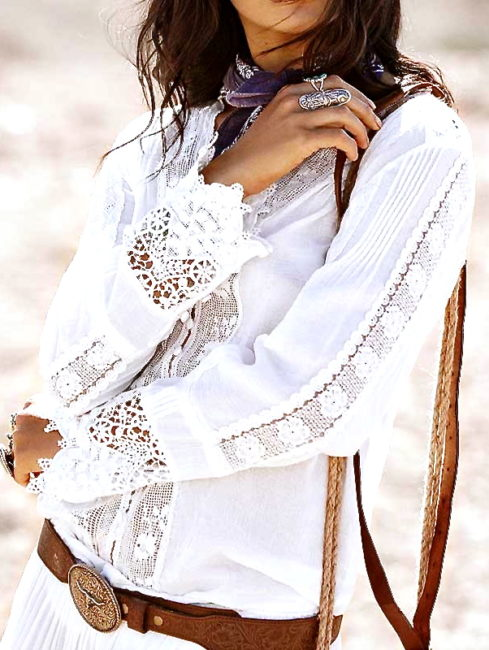Desert Floral Embroidered Lace Blouse-amla vibe