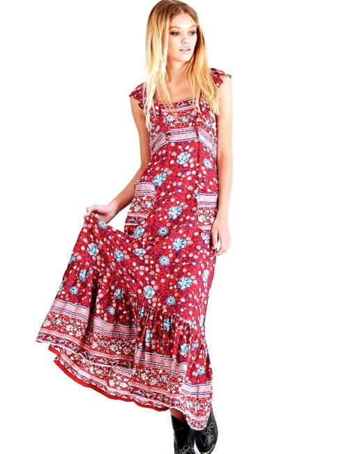 Indian Summer Floral Boho Maxi Dress-SHOPAMLA