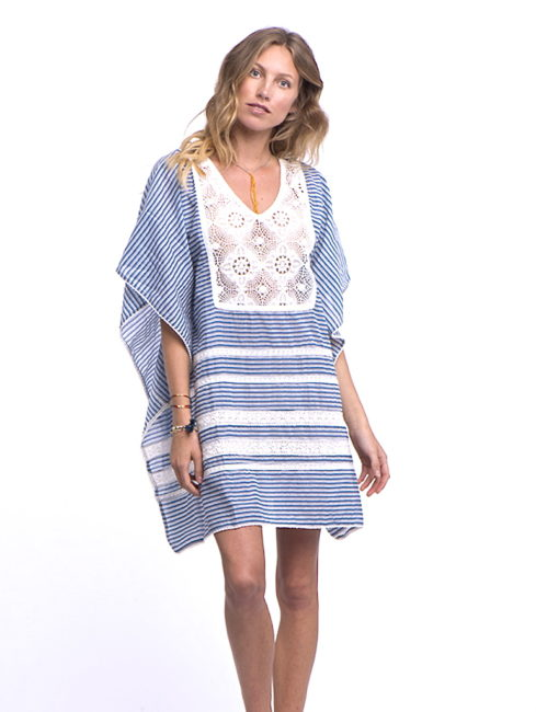 Reilly Striped Blue White Crochet Detail Kaftan - shop amla