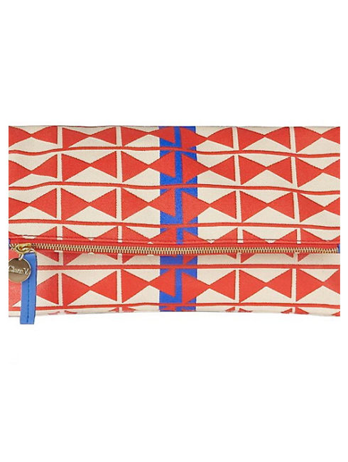 Geometric French Clutch Natural Blue Red- CLARE V.