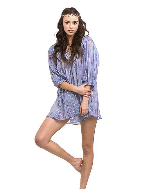 Blue Gray Short Hippie Chic Mini Dress- Blue Hippie